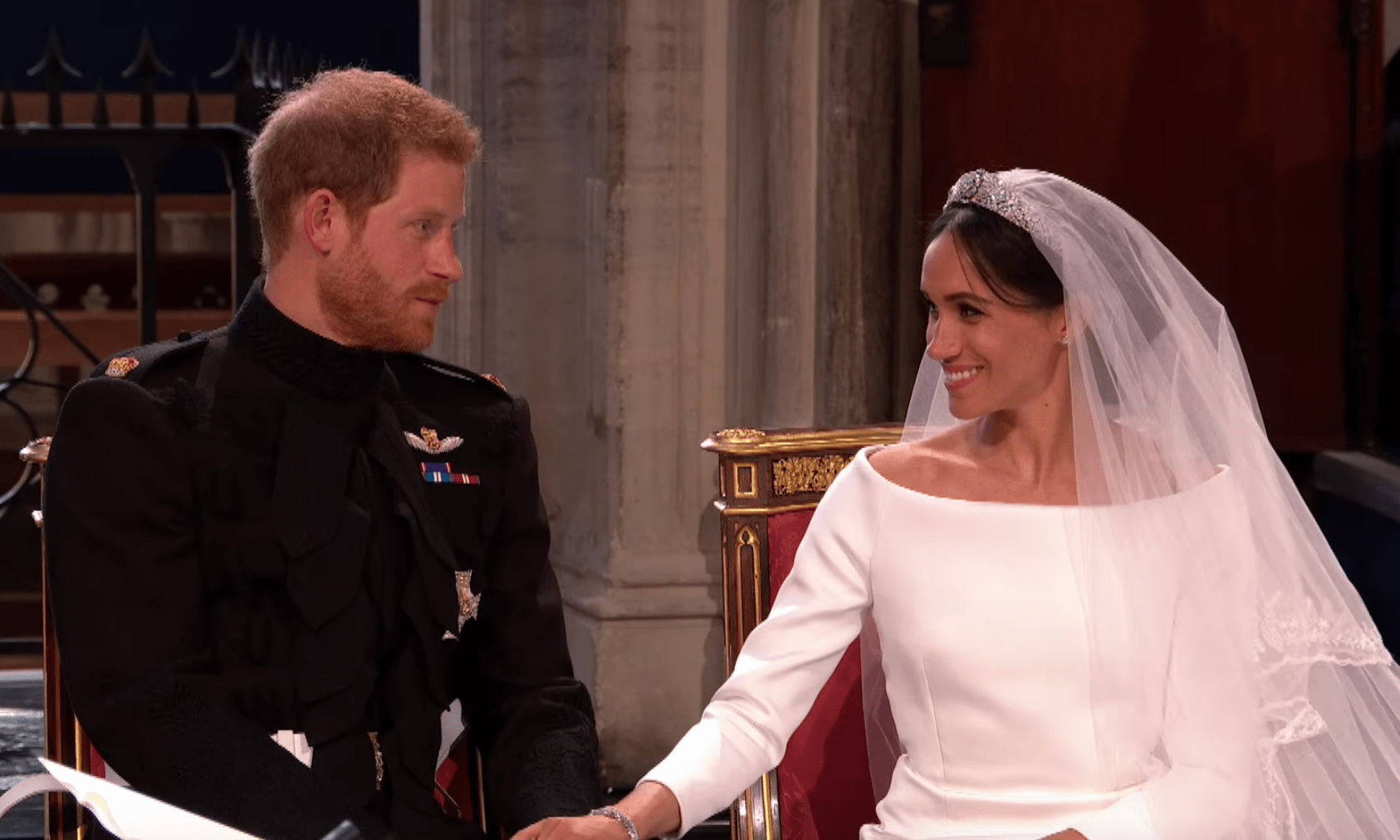 The story behind Meghan and Harry's Royal Wedding portrait on the steps