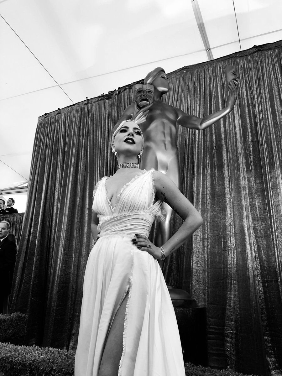 cba9c51bf9d Lady Gaga steals the show in white - as stars stuns on SAG Awards ...