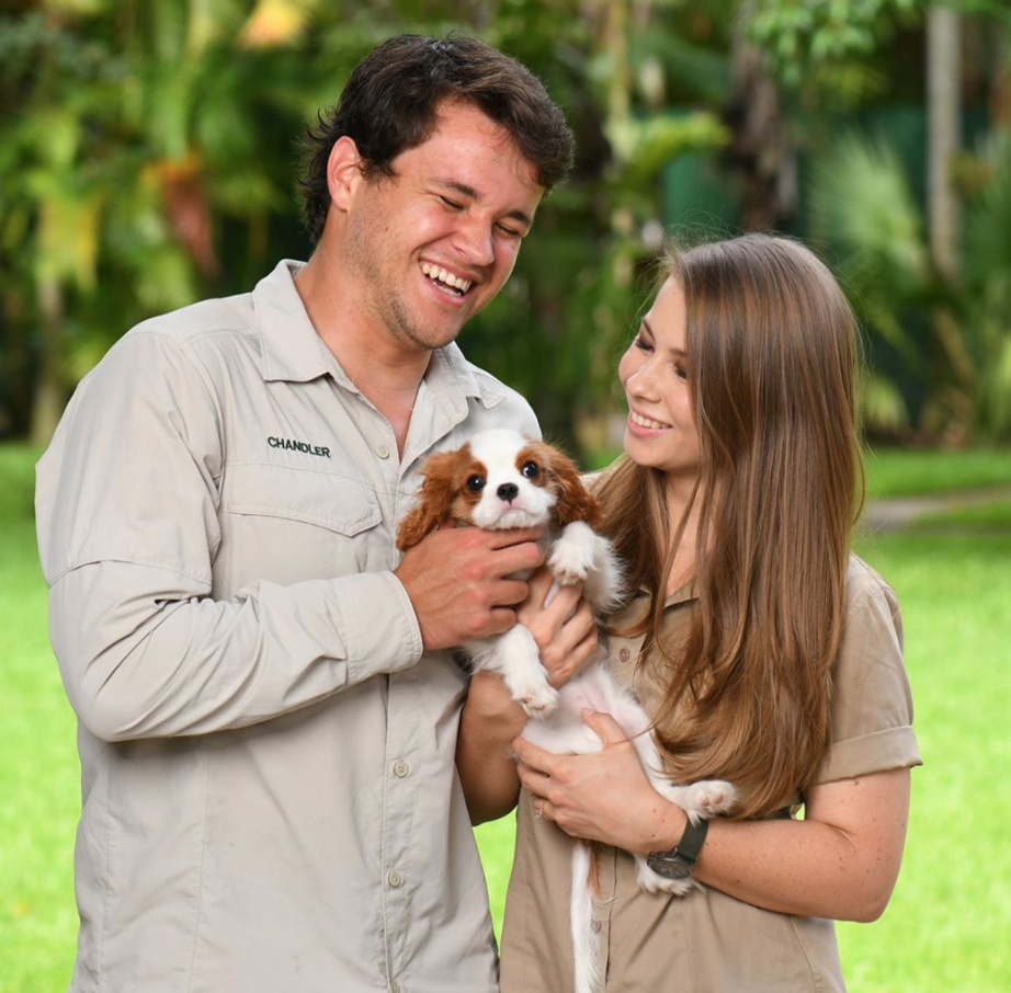 CHOPPER VIEW: Bindi Irwin 'rushes' wedding to Chandler